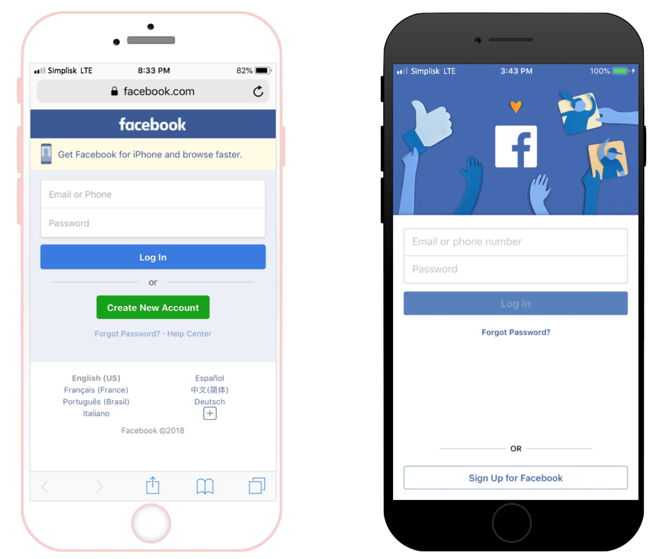 Facebook Native App and Mobile Web App Example