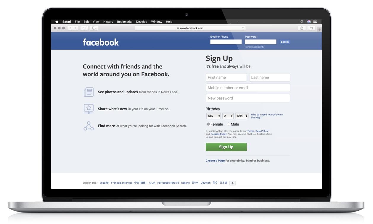 Facebook Web App Example